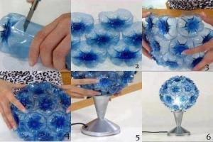 Beautiful Blue Lamp made from recycled bottles