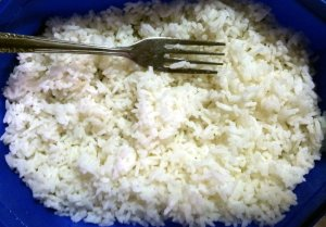white rice and fork