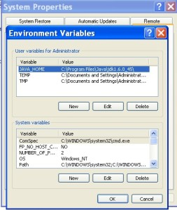 Setting the user variable: JAVA_HOME