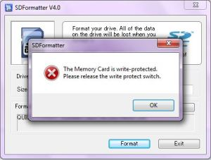 sd card formatter write protection error