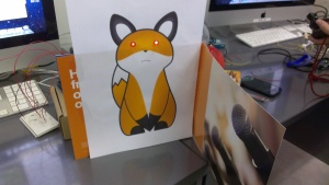 The fox has awaken! (its eyes - the LEDs, light up)