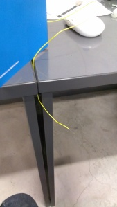 The tail of the animal (open-ended wire)
