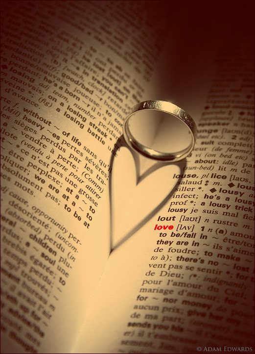 Ring on dictionary forms a love shape