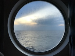 looking out the window of the cruise in the morning