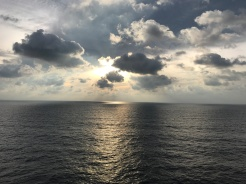sunrise in the sea from cruise