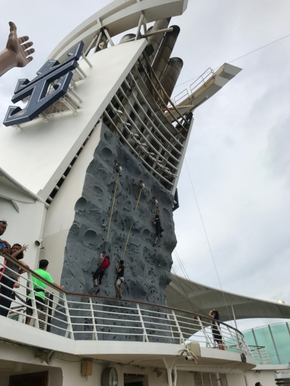 Rock climbing wall on Voyager of the Seas